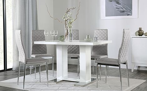 Joule White High Gloss Dining Table with 6 Renzo Light Grey Leather Chairs