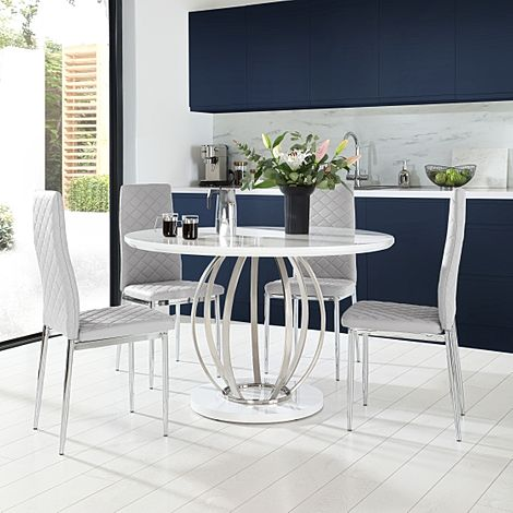 Savoy Round White High Gloss and Chrome Dining Table with 4 Renzo Light Grey Leather Chairs