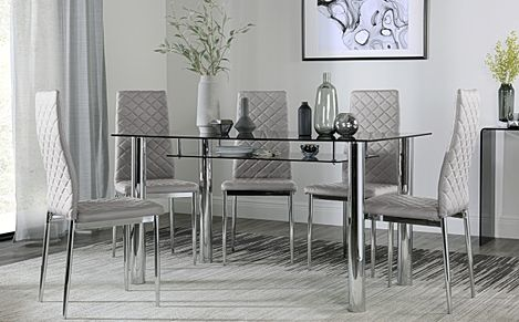 Lunar Chrome and Glass Dining Table with Storage with 4 Renzo Light Grey Chairs