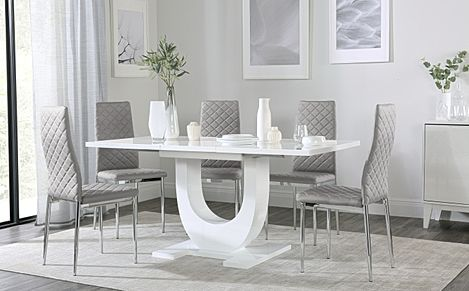 Oslo White High Gloss Extending Dining Table with 6 Renzo Light Grey Leather Chairs