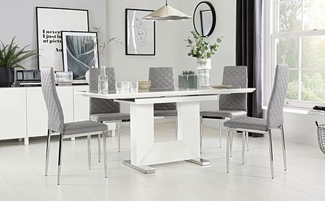 Florence White High Gloss Extending Dining Table with 4 Renzo Light Grey Chairs