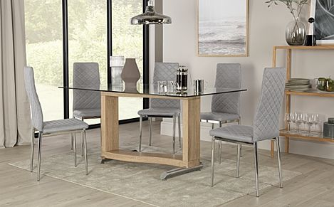 Mayfair Light Oak and Glass Dining Table with 4 Renzo Light Grey Leather Chairs