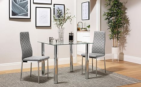 Nova Square Glass and Chrome Dining Table with 2 Renzo Light Grey Leather Chairs