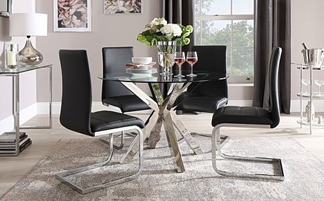 Plaza Round Chrome and Glass Dining Table with 4 Perth Black Leather Chairs