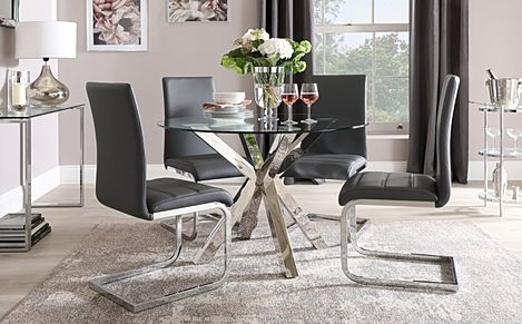 Plaza Round Chrome and Glass Dining Table with 4 Perth Grey Leather Chairs