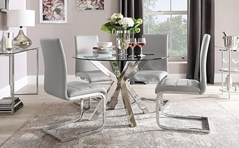 Plaza Round Chrome and Glass Dining Table with 4 Perth Light Grey Leather Chairs