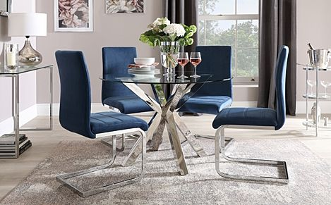 Plaza Round Chrome and Glass Dining Table with 4 Perth Blue Velvet Chairs