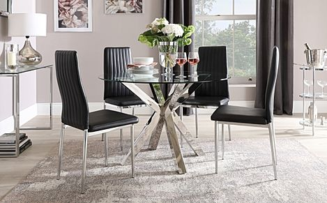 Plaza Round Chrome and Glass Dining Table with 4 Leon Black Leather Chairs