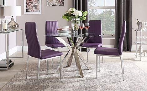 Plaza Round Chrome and Glass Dining Table with 4 Leon Purple Leather Chairs