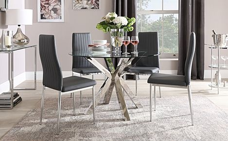 Plaza Round Chrome and Glass Dining Table with 4 Leon Grey Leather Chairs