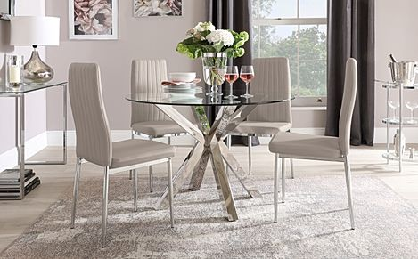 Plaza Round Chrome and Glass Dining Table with 4 Leon Taupe Leather Chairs