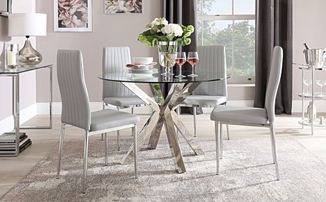 Plaza Round Chrome and Glass Dining Table with 4 Leon Light Grey Leather Chairs
