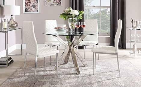 Plaza Round Chrome and Glass Dining Table with 4 Renzo White Leather Chairs