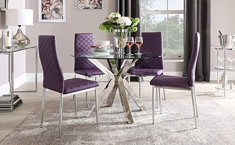 Plaza Round Chrome and Glass Dining Table with 4 Renzo Purple Leather Chairs
