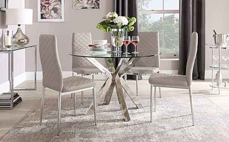 Plaza Round Chrome and Glass Dining Table with 4 Renzo Taupe Leather Chairs