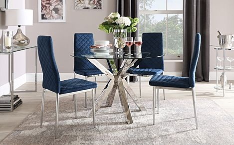 Plaza Round Chrome and Glass Dining Table with 4 Renzo Blue Velvet Chairs