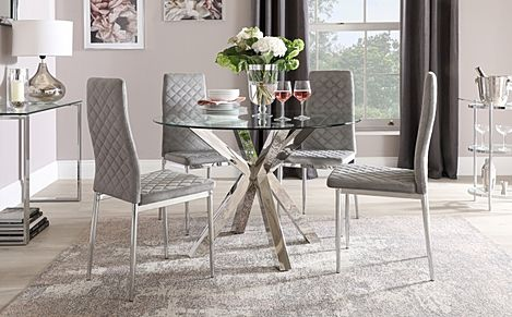 Plaza Round Chrome and Glass Dining Table with 4 Renzo Grey Velvet Chairs