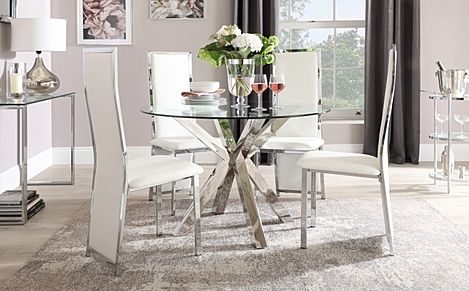 Plaza Round Chrome and Glass Dining Table with 4 Celeste White Leather Chairs