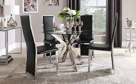 Plaza Round Chrome and Glass Dining Table with 4 Celeste Black Leather Chairs
