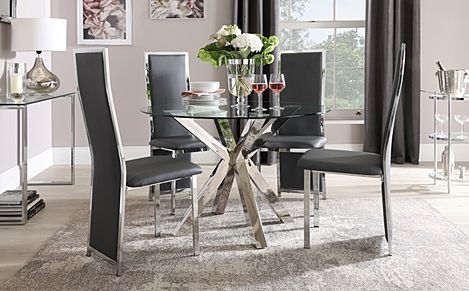 Plaza Round Chrome and Glass Dining Table with 4 Celeste Grey Leather Chairs