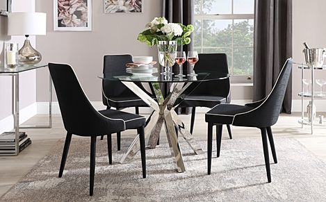 Plaza Round Chrome and Glass Dining Table with 4 Modena Black Fabric Chairs