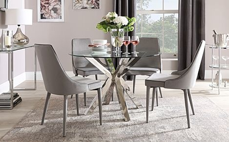 Plaza Round Chrome and Glass Dining Table with 4 Modena Grey Velvet Chairs