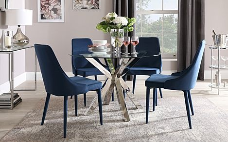 Plaza Round Chrome and Glass Dining Table with 4 Modena Blue Velvet Chairs