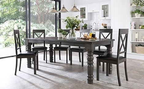Hampshire Grey Wood Extending Dining Table with 6 Kendal Chairs (Black Leather Seat Pad)