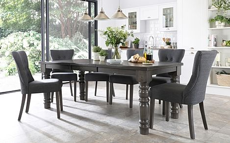 Hampshire Grey Wood Extending Dining Table with 8 Bewley Slate Fabric Chairs