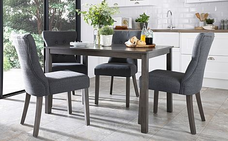 Milton Grey Wood Dining Table with 4 Bewley Slate Fabric Chairs