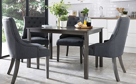 Milton Grey Wood Dining Table with 4 Duke Slate Fabric Chairs