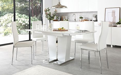 Vienna White High Gloss Extending Dining Table with 6 Leon White Leather Chairs