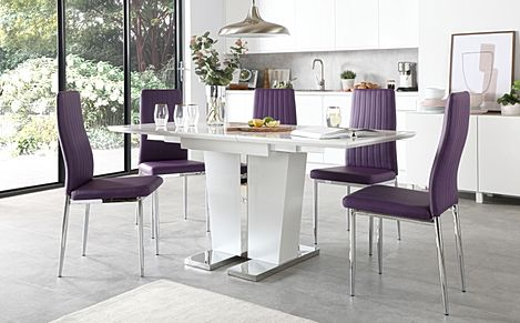 Vienna White High Gloss Extending Dining Table with 4 Leon Purple Leather Chairs