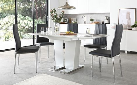 Vienna White High Gloss Extending Dining Table with 4 Leon Grey Leather Chairs