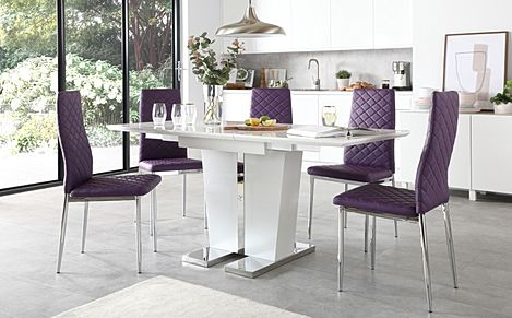Vienna White High Gloss Extending Dining Table with 6 Renzo Purple Leather Chairs