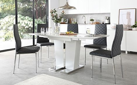 Vienna White High Gloss Extending Dining Table with 6 Renzo Grey Leather Chairs