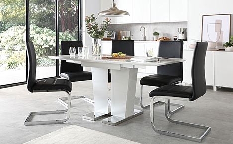 Vienna White High Gloss Extending Dining Table with 4 Perth Black Leather Chairs