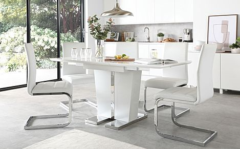 Vienna White High Gloss Extending Dining Table with 4 Perth White Leather Chairs