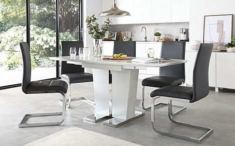 Vienna White High Gloss Extending Dining Table with 4 Perth Grey Leather Chairs