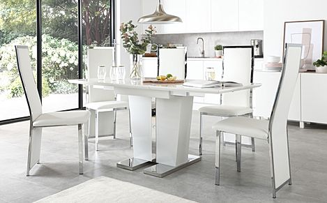 Vienna White High Gloss Extending Dining Table with 4 Celeste White Leather Chairs