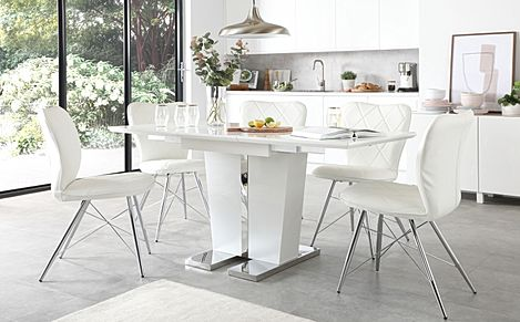 Vienna White High Gloss Extending Dining Table with 4 Lucca White Leather Chairs