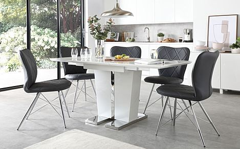 Vienna White High Gloss Extending Dining Table with 4 Lucca Grey Leather Chairs