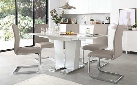 Vienna White High Gloss Extending Dining Table with 4 Perth Taupe Leather Chairs