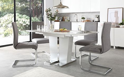 Vienna White High Gloss Extending Dining Table with 4 Perth Grey Velvet Chairs