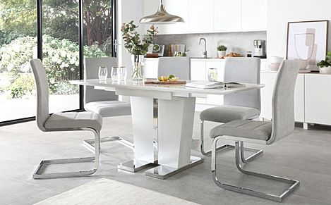 Vienna White High Gloss Extending Dining Table with 4 Perth Dove Grey Fabric Chairs