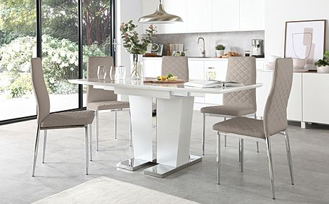 Vienna White High Gloss Extending Dining Table with 6 Renzo Taupe Leather Chairs