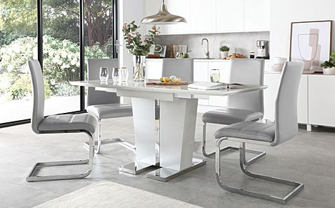 Vienna White High Gloss Extending Dining Table with 4 Perth Light Grey Leather Chairs