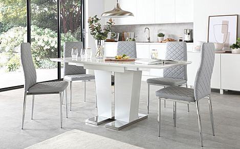 Vienna White High Gloss Extending Dining Table with 4 Renzo Light Grey Leather Chairs