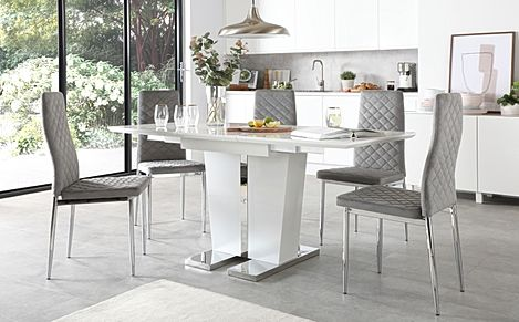 Vienna White High Gloss Extending Dining Table with 4 Renzo Grey Velvet Chairs