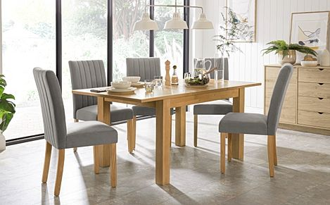 Hamilton 120-170cm Oak Extending Dining Table with 4 Salisbury Grey Velvet Chairs